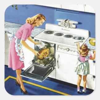Cocina retra #2 de la madre/de la hija pegatina cuadrada