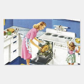 Cocina retra #2 de la madre/de la hija pegatina rectangular