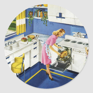 Cocina retra #2 de la madre/de la hija pegatina redonda