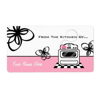 Cocina retra del rosa de la estufa de la cocina etiqueta de envío