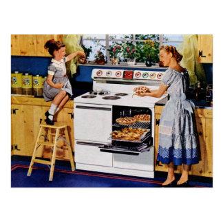 Cocina retra Postard de la madre/de la hija Tarjetas Postales