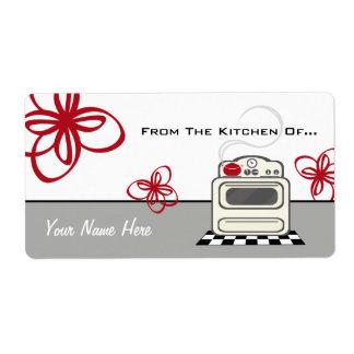 Cocina roja de la estufa retra de la cocina de… etiqueta de envío