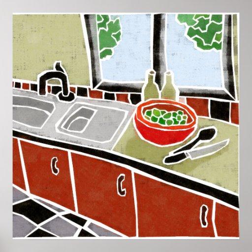 Cocina roja retra posters