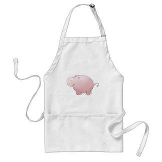 Cocina rosada del hipopótamo que cocina el delanta