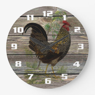 Cocina rústica del gallo del país reloj redondo grande