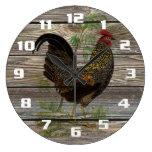 Cocina rústica del gallo del país reloj de pared