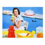 Cocina suburbana del ama de casa del kitsch de los tarjetas postales