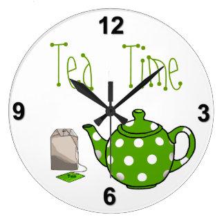 Cocina verde y blanca del tiempo del té reloj de pared