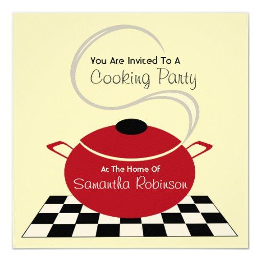 """Cocinando al fiesta invite - a la cocina blanca y invitación 5.25"""" x 5.25"""""""