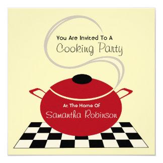 Cocinando al fiesta invite - a la cocina blanca y comunicado personalizado