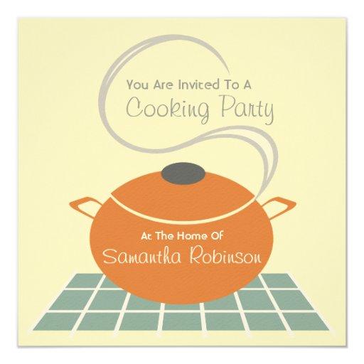 """Cocinando al fiesta invite - a la cocina invitación 5.25"""" x 5.25"""""""