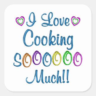 Cocinando amor tanto pegatina cuadrada