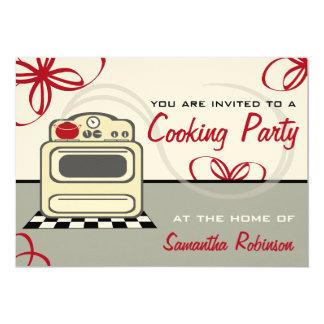 """Cocinando el fiesta - cocina retra del rojo de la invitación 5"""" x 7"""""""