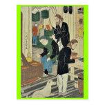 Cocinando en casa del acuerdo por Utagawa, Yoshika Tarjetas Postales