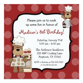 Cocinar a la fiesta de cumpleaños de los niños de invitación 13,3 cm x 13,3cm