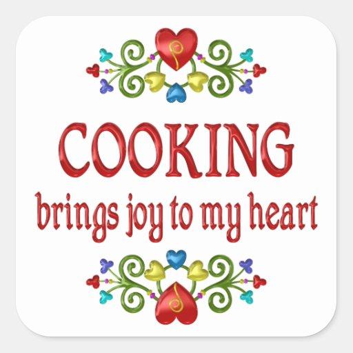 Cocinar alegría pegatina cuadrada