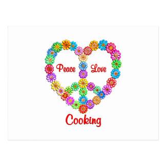 Cocinar amor de la paz postales