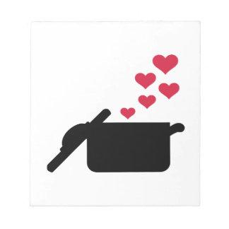 Cocinar corazones del rojo del pote blocs de papel