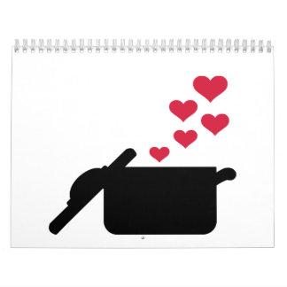 Cocinar corazones del rojo del pote calendarios de pared