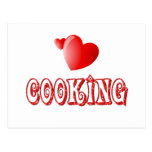 Cocinar corazones tarjeta postal