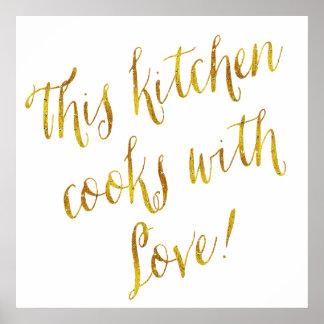Cocinar del modelo de la hoja de oro de la cita póster