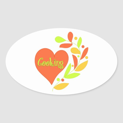 Cocinar el corazón pegatina ovalada