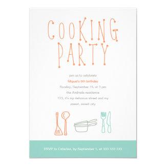 Cocinar el Doodle 6to de los utensilios de la Invitación 12,7 X 17,8 Cm