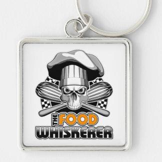 Cocinar humor: Comida Whiskerer 7 Llavero Cuadrado Plateado