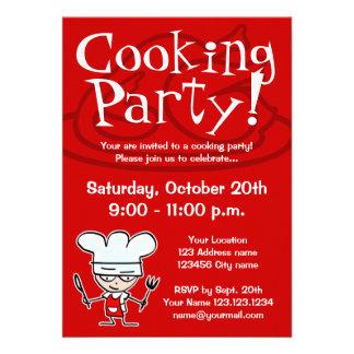 Cocinar invitaciones del fiesta invitación personalizada