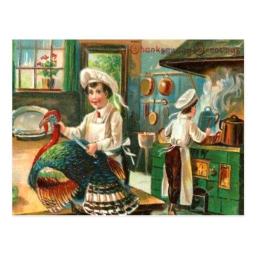 Cocinar la cena de la acción de gracias postales