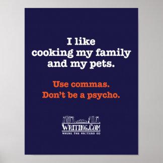 Cocinar la familia y a mascotas póster