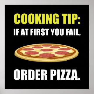 Cocinar la pizza de la extremidad póster