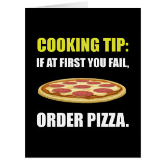 Cocinar la pizza de la extremidad tarjeta de felicitación grande