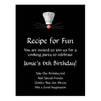 Cocinar la plantilla del fiesta: Blanco y negro Tarjetas Postales
