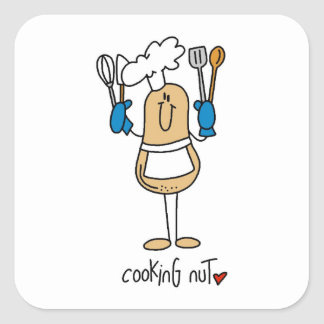 Cocinar las camisetas y los regalos de la nuez pegatina cuadrada