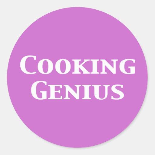 Cocinar los regalos del genio pegatina redonda