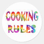Cocinar reglas etiqueta redonda
