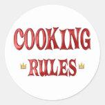 Cocinar reglas pegatinas redondas