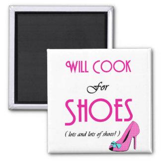 Cocinará para los zapatos imán cuadrado