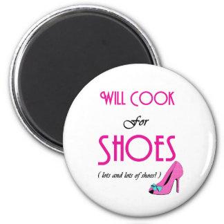 Cocinará para los zapatos imán redondo 5 cm
