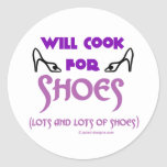 Cocinará para los zapatos pegatina redonda
