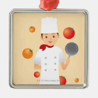 Cocinero 2 adorno navideño cuadrado de metal