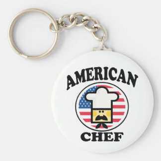 Cocinero americano llavero redondo tipo pin