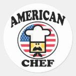 Cocinero americano pegatina redonda