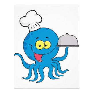 """cocinero azul lindo del pulpo con el disco de la folleto 8.5"""" x 11"""""""