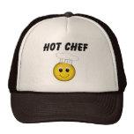 Cocinero caliente de la cara sonriente gorros