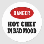 Cocinero caliente divertido etiquetas redondas
