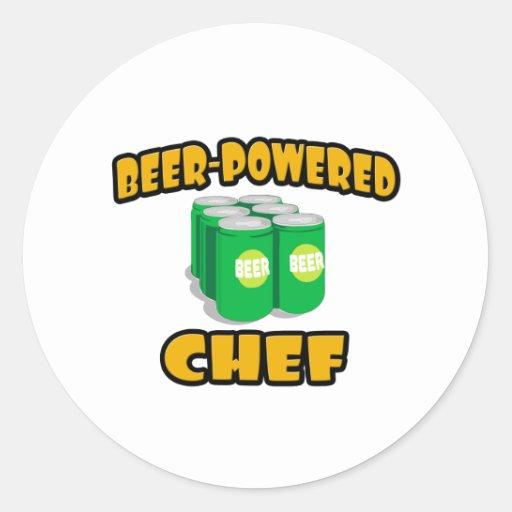 Cocinero Cerveza-Accionado Pegatinas Redondas