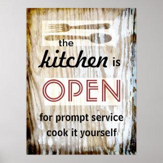 cocinero chistoso de la cita del poster de la coci