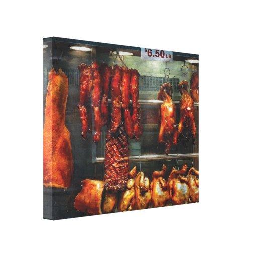 Cocinero - comida - carne - carne de la carne asad impresiones en lienzo estiradas